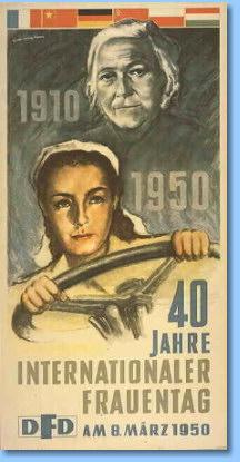 Plakat des DFD: 50 Jahre Internationaler Frauentag am 8. März 1950. Das Plakat ist der CD-ROM ''Das politische Plakat der DDR (1945-1970)'' entnommen, die im Shop des Deutschen Historischen Museums angeboten wird.